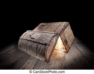 Pandora box - Upturned and opened an old wooden box with...