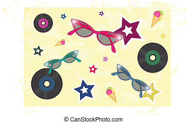 background 50s - backgroun 50s with sunglasses, vinyls, ice...