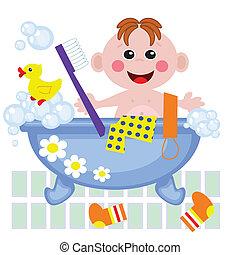 Boy showering in bath, vector.