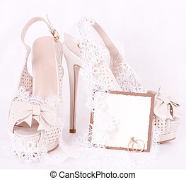 bridal shoes, lace and wedding rings with banner add