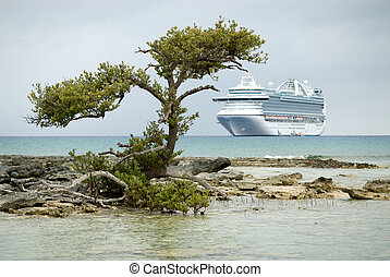 Cruise ship anchore in the Caribbean