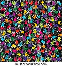 Grunge background with colored hands