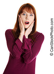 Young shocked woman