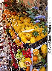 Shelf with fruits on market