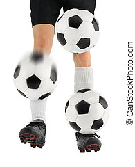 Juggling three soccer balls with the feet