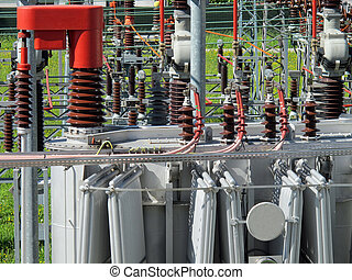electrical transformer to a powerhouse with switches,...