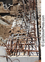 Constraction site. Concrete work. Close up