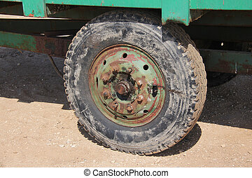 Old wheel of tractor trailer - Old tractor trailer wheel....