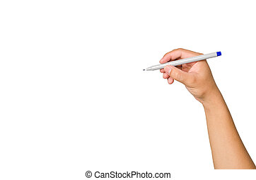 Hand writing with marker isolated on white; copy space