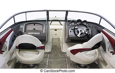 motorboat - Luxury boats leading cab white leather chairs.
