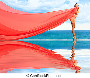 Woman with red scarf - Woan with red scarf on water