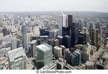 city skyline from cn tower in toronto