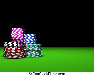 Colored Casino Chips - Colored casino chips on green table...