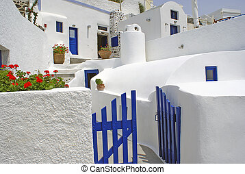Traditional village of Thira at Santorini island in Greece