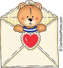 Bear Inside Envelope - Image representing a bear inside...