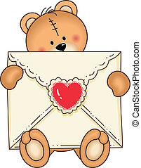 Bear Secure Envelope Heart
