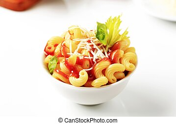 Pasta and tomato sauce - Bowl of pasta with tomato sauce and...