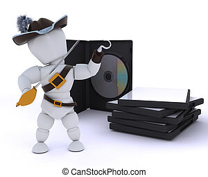 Pirate with DVD software - 3D render of a Pirate with DVD...