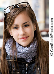 Cute young teen student girl. - Closeup portrait of a cute...