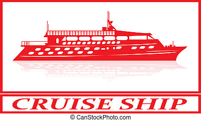Cruise ship. - Cruise ship in red silhouette.