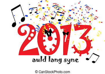 New Year 2013 - illustration of 2013 with clock, music, and...