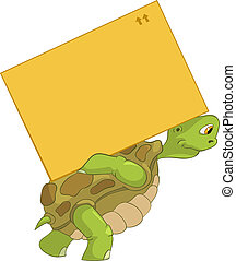 Funny Turtle Delivery - Cartoon Character Funny Turtle...