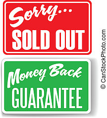 Money Back Guarantee Sorry Sold Out store signs - Two retail...