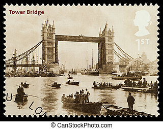 London Tower Bridge Postage Stamp - UNITED KINGDOM - CIRCA...