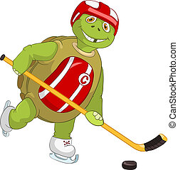 Funny Turtle. Hockey Player. - Cartoon Character Funny...