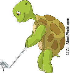 Funny Turtle. Golf Player. - Cartoon Character Funny Turtle...