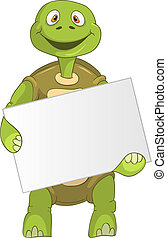 Funny Turtle Holding Box - Cartoon Character Funny Turtle...
