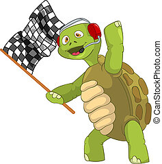 Funny Turtle Race Finish - Cartoon Character Funny Turtle...