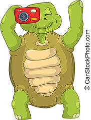 Funny Turtle. Tourist - Photographer. - Cartoon Character...