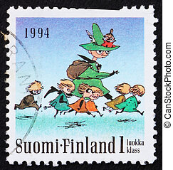 Postage stamp Finland 1993 Seven Running, Moomin Characters...