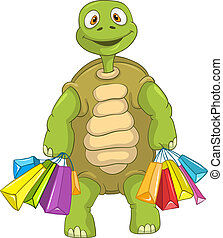 Funny Turtle. Shopping.