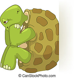 Funny Turtle. Confusion. - Cartoon Character Funny Turtle...