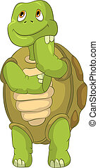 Funny Turtle. Thinking. - Cartoon Character Funny Turtle...