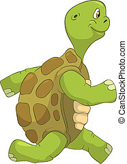 Funny Turtle. Running. - Cartoon Character Funny Turtle...