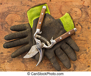 Gardening Clippers and Gloves - Gardening clippers and...