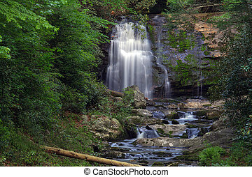 Mountain waterfall - Waterfall in the mountains in the...