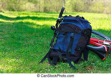 sac à dos, Vélo, mensonge, vert, herbe