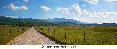 Tennessee Panorama - Panorama of country road in the...