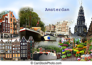 Amsterdam Collage postcard - Collage of different city...
