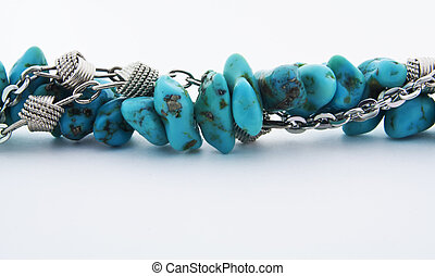 Turquoise stones and silver chain - Close up of beautiful...