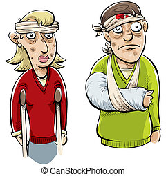 Injured Couple - A cartoon couple with many injuries.