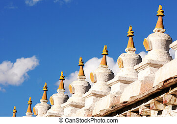 White stupa in Tibet - Landmark of historic white stupa in a...
