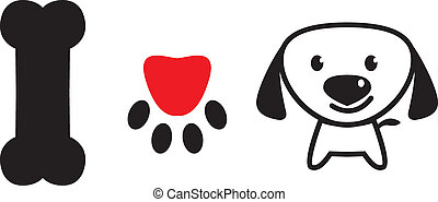 I love dog sign with bone,pup's paw and cute puppy - I love...