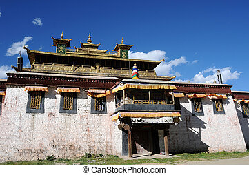 Historic lamasery in Tibet - A golden historic lamasery in...