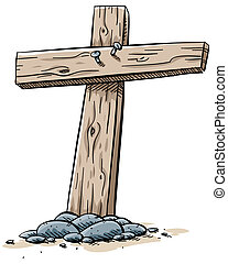 Wooden Cross - Two boards nailed together to form a wooden...