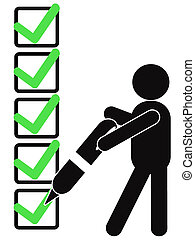 symbol people with checklist - a black symbol people holding...